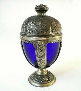 Antique Jennings Bros Spelter Chalice With Cobalt Glass Insert Marked Jb