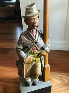 Antique Karl Griesbaum Hand Carved Wood Wind Up The Whistler Music Box