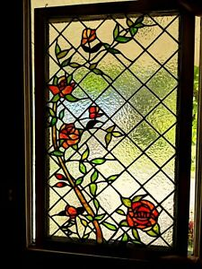 Gorgeous Tiffany Style Stained Glass Window Panel Lattice Roses 30 By 19