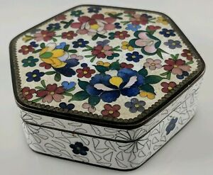 Small Japanese Cloisonne Dresser Box Jewelry Trinket White Blue Red Lotus Flower