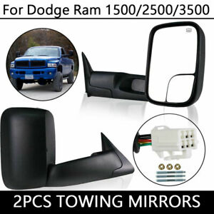 2pcs For 98 02 Dodge Ram 2500 3500 Power Heated Manual Fold Tow Mirrors L R