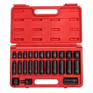 Sunex Tools 3 8 Drive 25 Pc Sae Master Impact Socket Set 3325 With Case New