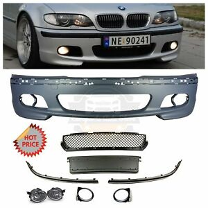 Bmw E46 Mtech M Tech Style Front Bumper W Clear Fog Lights 1999 2005 Sedans