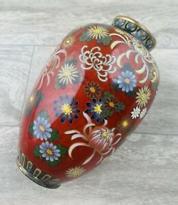 An Antique Japanese Cloissone Floral Red Groud Decorated Vase