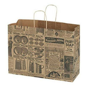 Newsprint Paper Shopper 16 X 6 X 12 Inches With Gusset Handles Count Of 25