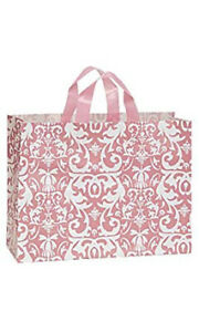 Large Pink Damask Frosted Plastic Shopping Bag 16 x 6 X 12 Count Of 100