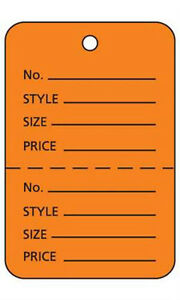 Orange Unstrung Large Coupon Price Tags 1 W X 2 h Inches Pack Of 1000