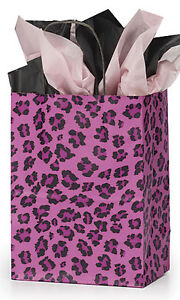 Leopard Pink Paper Medium Shopping Bag 8 X 4 X 10 Inches Count Of 25