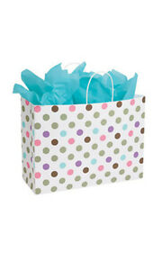 Playful Polkadot Paper Large Shopping Bag 16 X 6 X 12 Inches Count Of 25