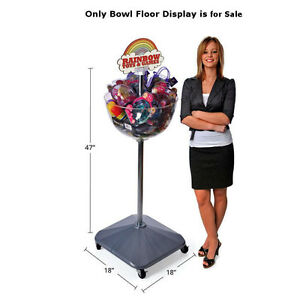 Single Bowl Floor Display Fully Adjustable In Clear Plastic 18 W X 47 H Inches