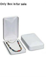 Faux Leather Necklace Jewelry Box In White 4 25 X 7 X 1 5 Inches