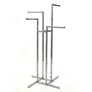 4 way Garment Rack In Chrome Finish With Straight Arms