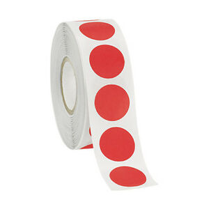 Self adhesive Labels In Red 3 4 D Inches Roll Of 1000