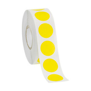 Self adhesive Labels In Yellow 3 4 D Inches Roll Of 1000