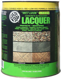 5 Gal Clear Wet Look Green Concrete And Masonry Lacquer Sealer Porous Stone New