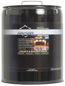 5 Gallon Solvent Based Acrylic High Gloss Concrete And Paver Sealer Adhesive New