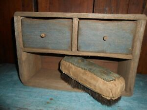Primitive Wooden Drawer And Cubbie Holder Old Blue Paint Sweet Liberty Made