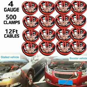 Lot 12ft 4ga Booster Jumper Cables Emergency Battery Start Motorcycle Car Auto