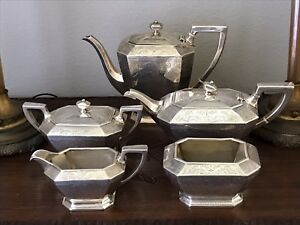 Durgin Sterling Silver Tea Coffee Pot 5 Pc Service 1853 1931 Jas R Armiger