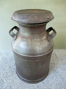 Antique Milk Can Vintage Large Primitive Metal Side Handles 21 Tall Clean