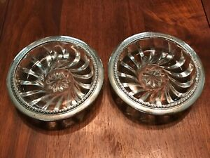Large 2 Pair Matching Sterling Silver Etched Glass Drink Coasters Not Scrap