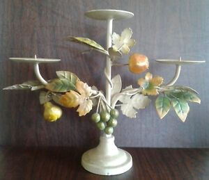 Antique Candle Holder Pillar Metal Tole Toleware Centerpiece Leaves Fruit