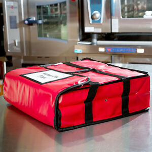 18 X 18 X 5 Red Heavy duty End Load Vinyl Insulated Pizza Delivery Bag