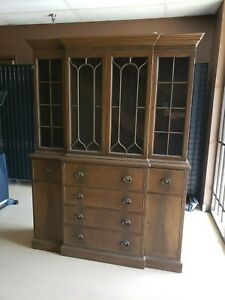 Vintage Drexel Federal Style China Cabinet Hutch Large Display Cabinet