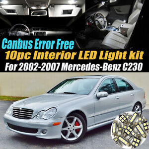 10pc Error Free White Interior Led Light Kit For 2002 2007 Mercedes benz C230