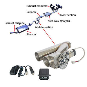 2 5 Electric Exhaust Downpipe Cutout E cut Out Dual valve Remote