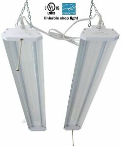 2pcs 4ft 40w 5000k Led Garage Work Shop Light Fixture Hanging With Pull Chain B2