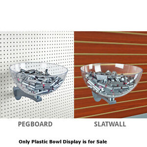 Clear Plastic Bowl Display 8 Inches Dia For Pegboard And Slatwall
