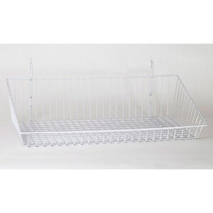 Sloping Basket For Slat grid And Pegboard In White 24 W X 12 D Inches