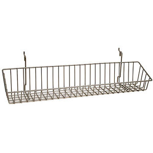 Basket Fits Slat grid pegboard In Chrome 23 W X 4 D X 3 H Inches Box Of 5