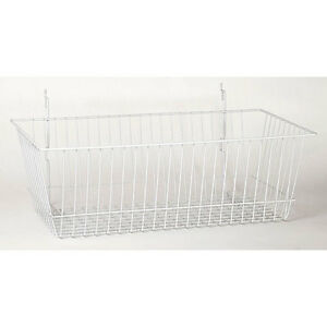 Wire Basket In White 24 W X 12 D X 8 H Inches Fits Slatwall grid And Pegboard