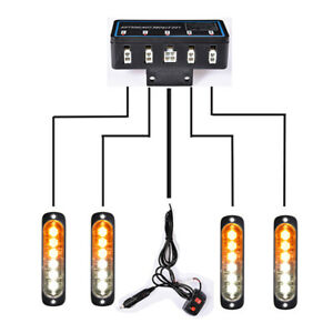 4pcs 6 Leds Amber White Flashing Lights Bar Emergency Hazard Beacon Strobe Kit