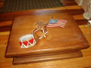 Large Wood Wooden Box With A Hand Painted Patriotic Drummer Bear Flag Very Nice