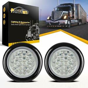 2 4 Inch Round White 30led Stop Turn Tail Running Light Flush Mount Truck Boat