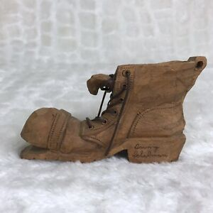 Vintage Irving Schulman Hand Carved Signed Wooden Work Boot With Laces