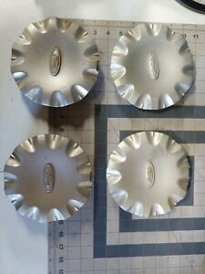 1999 2003 Ford Windstar Center Caps Xf22 1a096 Ab Silver Paint Plastic Set Of 4