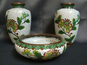 Antique Chinese Cloisonne Pair Of Vases And Bowl Set Republic Period