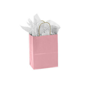 Pink Paper Medium Shopping Bag 8 X 4 X 10 Inches Case Of 25
