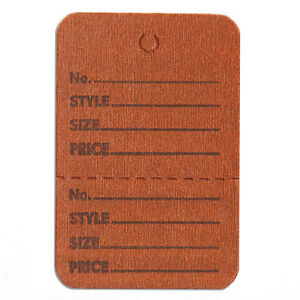 Perforated Merchandise Tags 1 1 2x1 3 4 Inches In Brown 1000 Pc