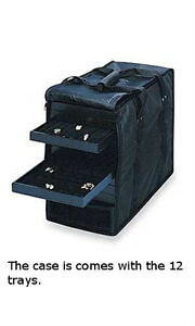 Jewelry Tray Carrying Cases In Black 16l X 9w X 13h Inches Holds 12 Trays