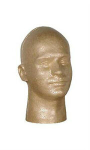 Male Styrofoam Mannequin Head In Suntan Finish 11 H Inches