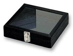 Glass Top Jewelry Tray In Black Faux Leather 8 1 4l X 7 1 4w X 1 3 4h