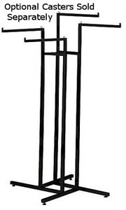 4 Way Clothing Display Rack In Black Finish With Staight Arms