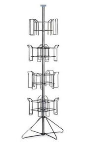 4 tier Floor Standing Display Rack In Chrome Finish 64 h X 16 d Inches