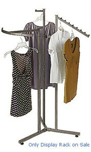 3 Way Clothes Display Rack In Raw Steel 48 72 H Inches