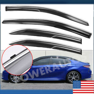 4pcs Window Visor Sun Rain Guard Vent Shade For Toyota Camry 2018 2019 Us Power